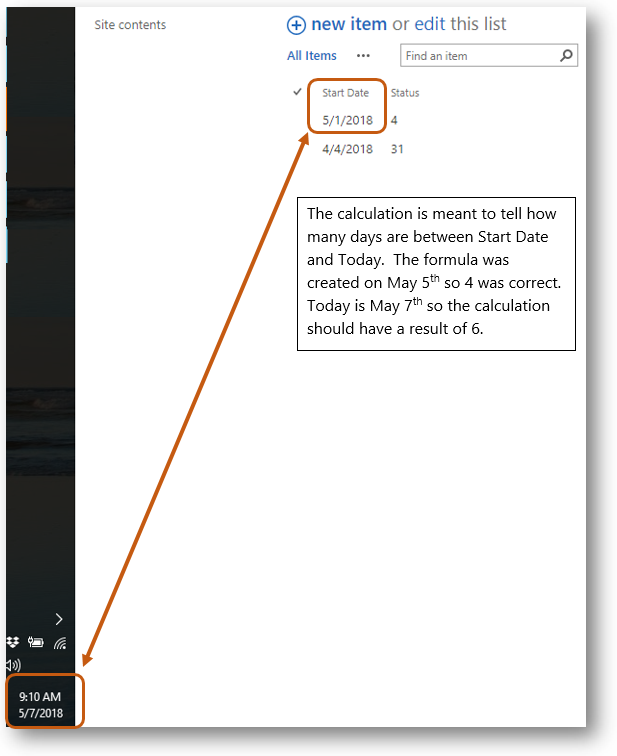 Formula Results are Wrong For Using Todays Date as a Calculated Column in SharePoint